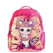 Рюкзак с блестками пайетками Lol (Розовый с оранжевым)