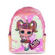 Рюкзак с блестками пайетками Lol (Розовый с перламутром)