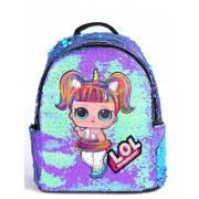 Рюкзак с блестками пайетками Lol (Фиолетовый с голубым)