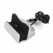 Док-станция зарядное устройство универсальное для смартфонов с micro-usb (Серебристая)