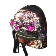 Рюкзак с блестками пайетками бант (Розовый с золотом)