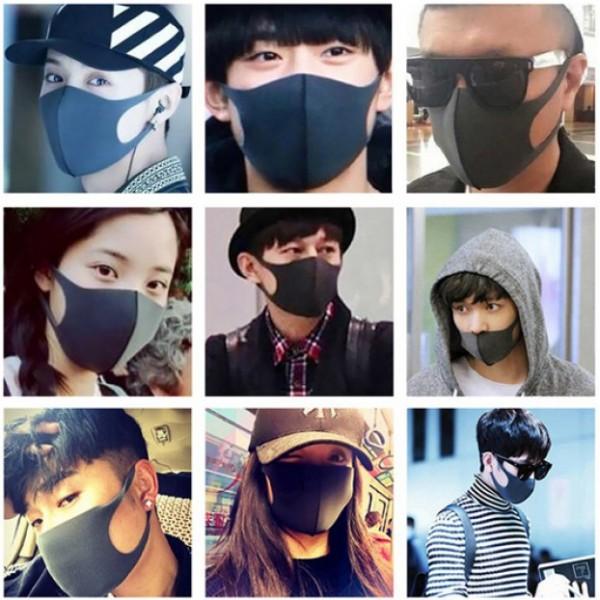 Дизайнерская защитная маска для лица Pictet Fino Romix против инфекций, аллергии, пыли, твердых частиц дыма RH08 (Черная)