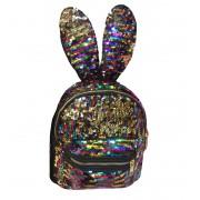Рюкзак с блестками пайетками ушки зайца (Цветной)