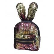 Рюкзак с блестками пайетками ушки зайца (Розовый с золотом)