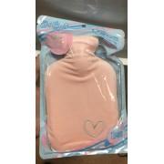 Бутылка-грелка плюш с вышивкой сердце (Розовый)