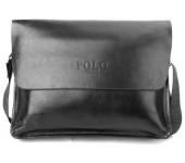 Сумка кожаная размер XL мужская для ноутбука, документов Polo (Черный)