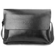 Сумка кожаная портфель мужская для ноутбука, документов Polo (Черный)
