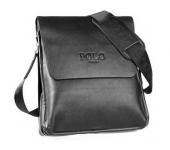 Сумка кожаная размер S мужская для документов Polo (Черный)
