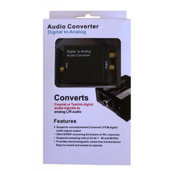 Аудио Конвертер Digital to Analog Audio ЦАП DAC цифра в аналоговый (Черный)