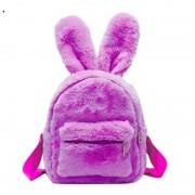 Меховой рюкзачок с заячьими ушками (Розовый)