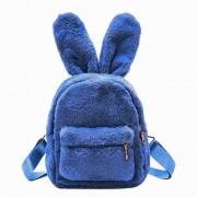 Меховой рюкзачок с заячьими ушками (Синий)