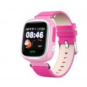 Умные детские часы с телефоном и GPS трекером Smart Baby Watch Q90 (Розовые)