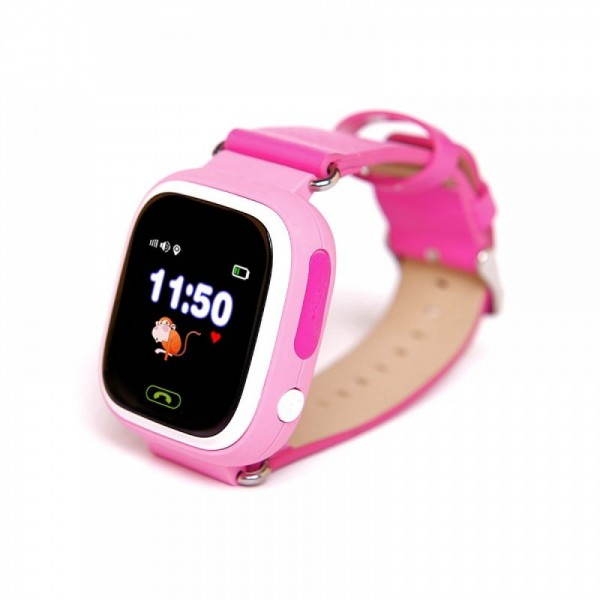 Умные детские часы с телефоном и GPS трекером Smart Watch Q90 (Розовые)