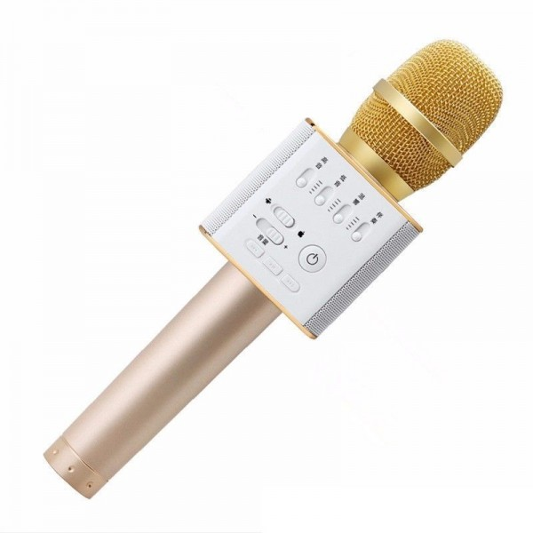 Микрофон Караоке со встроенным динамиком Q9 Беспроводной Bluetooth (Золотой)