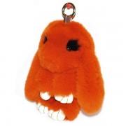Брелок Кролик из меха с ресничками (Оранжевый)