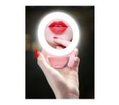 Кольцевая светодиодная LED лампа с креплением и зеркалом 9,5 см M9 (Белый)