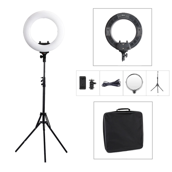Кольцевая лампа настольная для сэлфи 10 дюймов с двумя подставками (Белый)