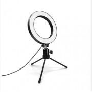 Кольцевая лампа для сэлфи настольная диодная 8 дюймов профессиональная съемка (Белый)