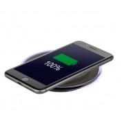 Interstep Беспроводное Зарядное устройство QI 1,5А, орг стекл, кругл, черный, кабель 1м черн в комплекте