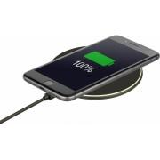 Interstep Безпроводное Зарядное устройство QI 10W, LED по кругу, ABS, кругл, черный