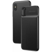 Чехол Baseus с беспроводной зарядкой и аакумулятором 1+1 Qi Wireless Charge Backpack Power Bank 5000 mAh для iPhone X iPhone XS ACAPIPHX-ABJ01 (Черный)
