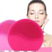 Силиконовый массажер для лица с вибрацией (Розовый)