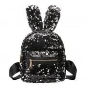 Рюкзак с блестками пайетками ушки зайца (Черный с золотом)