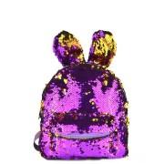 Рюкзак с блестками пайетками ушки зайца (Фиолетовый с золотом)