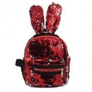 Рюкзак с блестками пайетками ушки зайца (Красный с золотым)