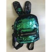 Рюкзак с блестками пайетками ушки зайца (Зеленый с синим)