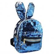 Рюкзак с блестками пайетками ушки зайца (Синий с золотым)