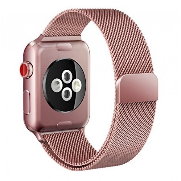 Ремешок Milanese Loop для Apple Watch 42 44 мм (Розовое золото)