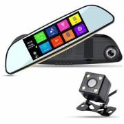 Видеорегистратор зеркало заднего вида Eplutus D83 8 дюймов экран, GPS навигатор, 2 камеры, Full HD, Android