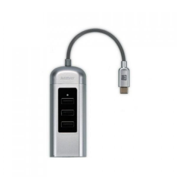 USB хаб Type C Remax Cati Series 2.0 3U Hub RU-U4 (Серебристый)