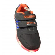 Кроссовки с Led подсветкой на липучках (Черно-оранжево-синие)