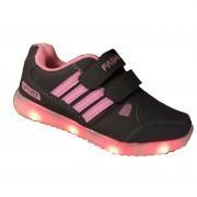 Кроссовки с Led подсветкой на липучках (Черно-розовые)
