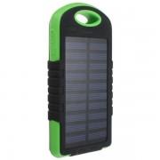 Powerbank со встроенной солнечной батареей Solar Power Bank 5200 mAh (Зеленый)