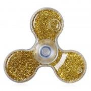 Игрушка-антистресс Spinner Спиннер крутилка треугольник с блестками (Золотой)