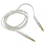 Аудио кабель aux плоский с силиконовым покрытием 3,5 mm mini jack - 3,5 mm mini jack (Белый)