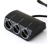 Авто-разветвитель прикуривателя поворотный USB 1000 mA удлинитель 0,5м на 3 гнезда 120 вт Olleson 1528