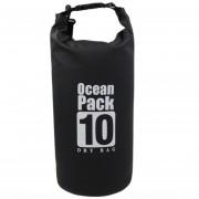Сумка на пляж непромокаемая, водонепроницаемая объем 10 литров (Черная)