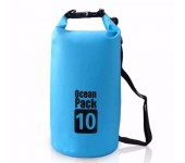 Сумка на пляж непромокаемая, водонепроницаемая объем 10 литров (Синяя)