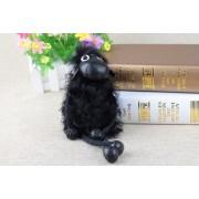 Брелок - Барашек Шон из натуральной шерсти (Чёрный)