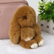 Брелок Кролик из меха (Коричневый)