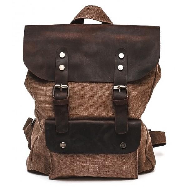 Рюкзак L&F 6876-1 (натуральная кожа+плотная ткань) коричневый