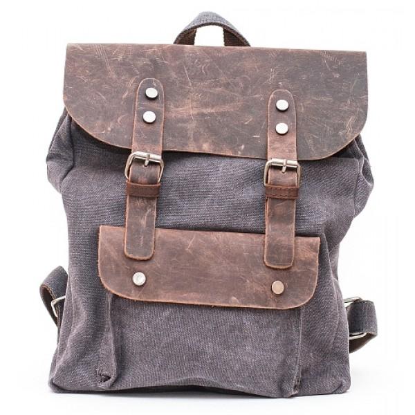Рюкзак L&F 6876-1 (натуральная кожа+плотная ткань) черный