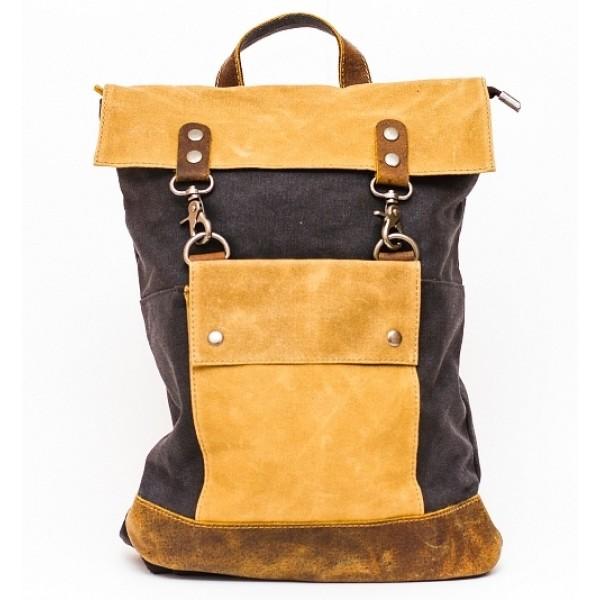 Рюкзак L&F 2003-1 (натуральная кожа+плотная ткань) • хаки