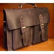 Сумка портфель мужская кожаная для ноутбука, документов (Коричневый)