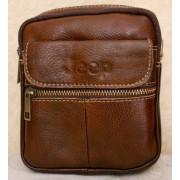 Стильная кожаная мужская сумка (коричневый)
