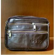 Стильная кожаная мужская сумка горизонтальная (коричневый)